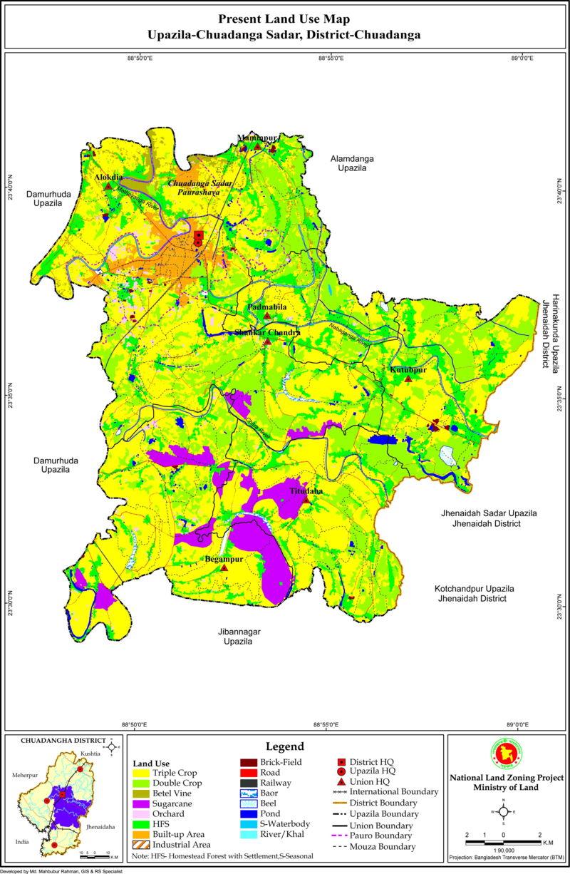 Chuadanga Sadar Upazila Land Use Mouza Map Chuadanga District Bangladesh