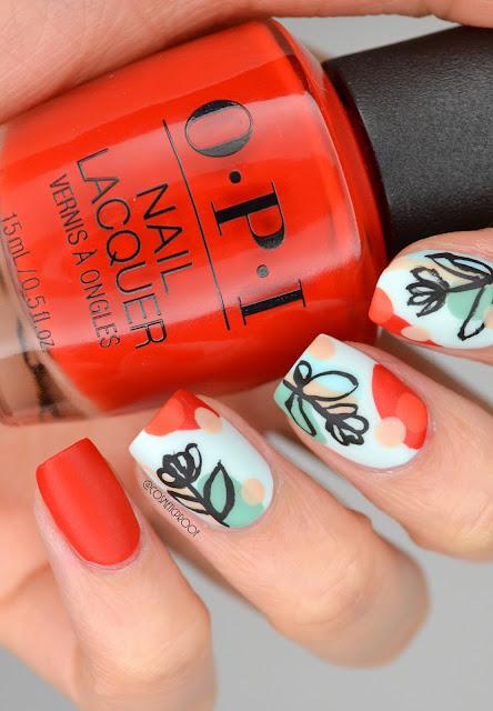 Abstract Tulip Nail Art
