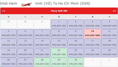 Vé máy bay giá rẻ đi Vinh tháng 11