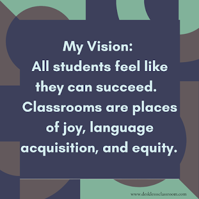 Image description: geometric figures in dark blue, brown, and light green with the words My Vision: All students feel like they can succeed. Classrooms are places of joy, language acquisition, and equity.