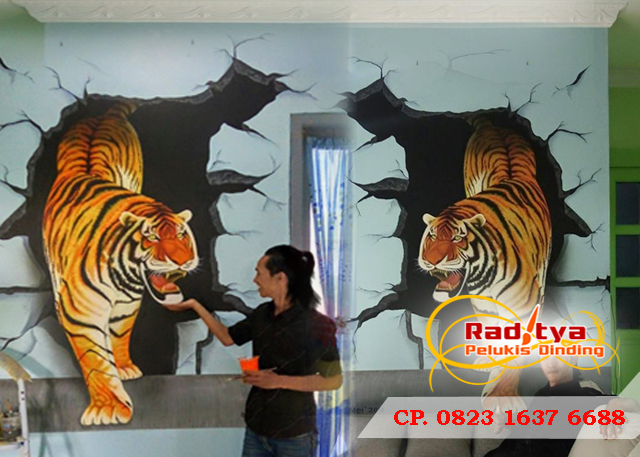 Lukisan 3D dinding rumah