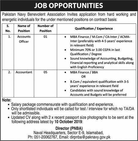 Pakistan Navy Benevolent Association Jobs 2019