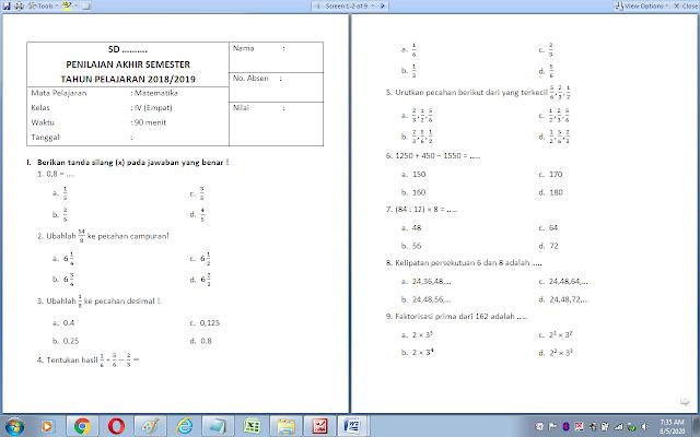Soal matematika semester 1 kelas 4 sd/mi dan kunci jawaban