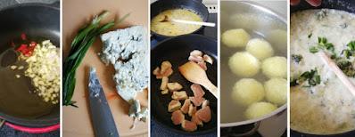 Zubereitung Knödelchen mit Broccoli-Gorgonzola-Sauce und Pute