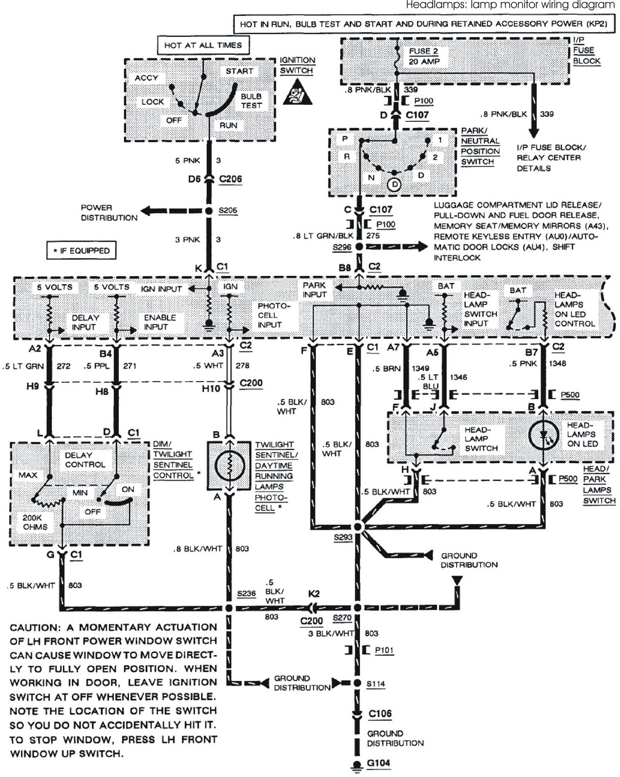 1993 Buick Park Avenue System Wiring Diagrams Headlamps