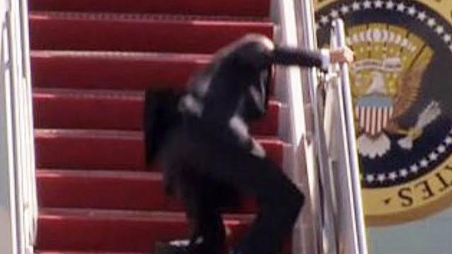 Joe Biden slipped 3 times while climbing the stairs