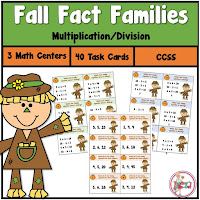 Fall Fact Family Task Cards using Multiplication and Division