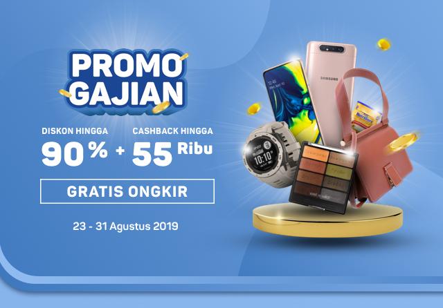 #Bukalapak - #Promo GAJIAN Diskon 90 % + Cashback 55K & Gratis Ongkir (s.d 31 Agustus 2019)