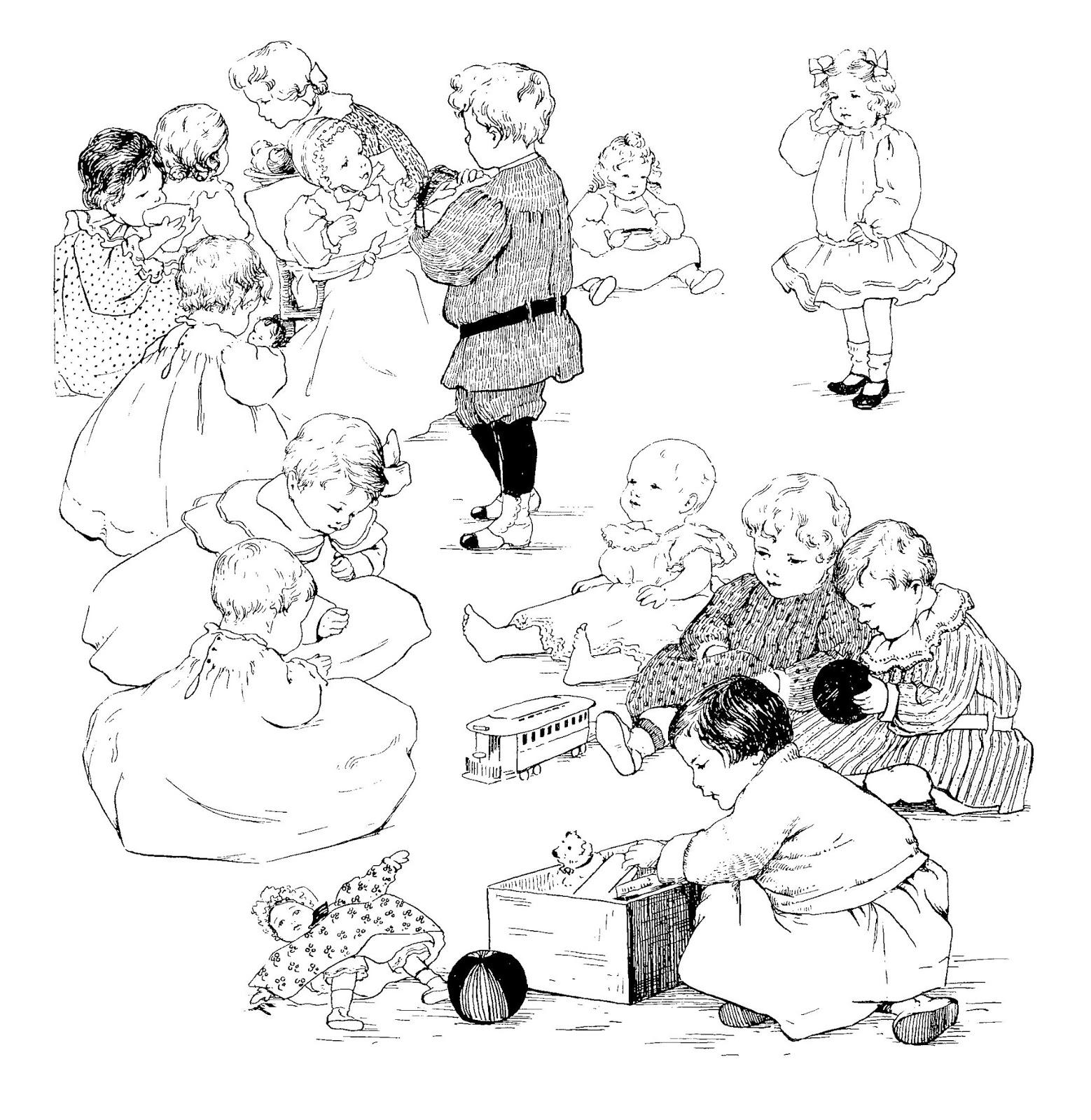 Digital Stamp Design Free Children School Toys Party Vintage Downloads