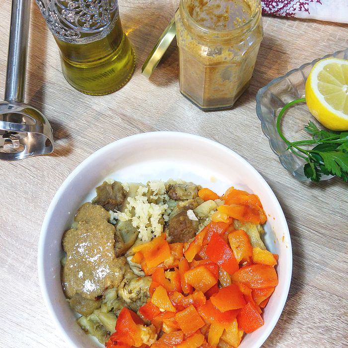 caviar d'aubergine poivron tahin, accompagnement pour aperitifs, reveillon, toasts, cuisine vegan, vegetarien, vegetalien, recette libanaise