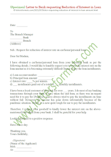request letter to bank for reducing interest rate on housing loan due to covid