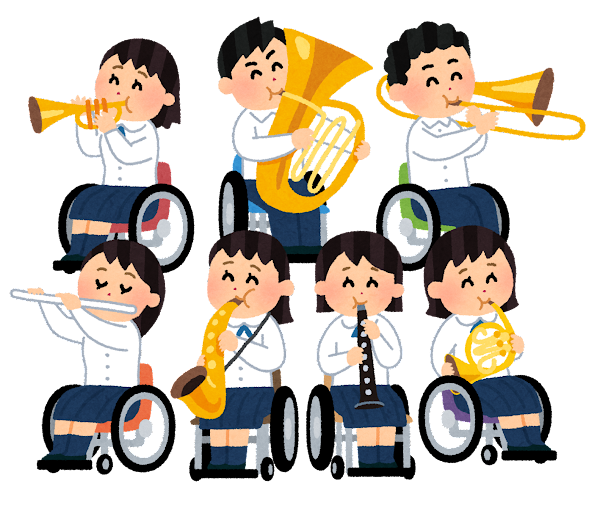 車椅子の吹奏楽部のイラスト