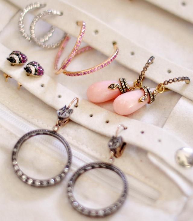 earrings, snake earrings, vintage earrings, diamond earrings