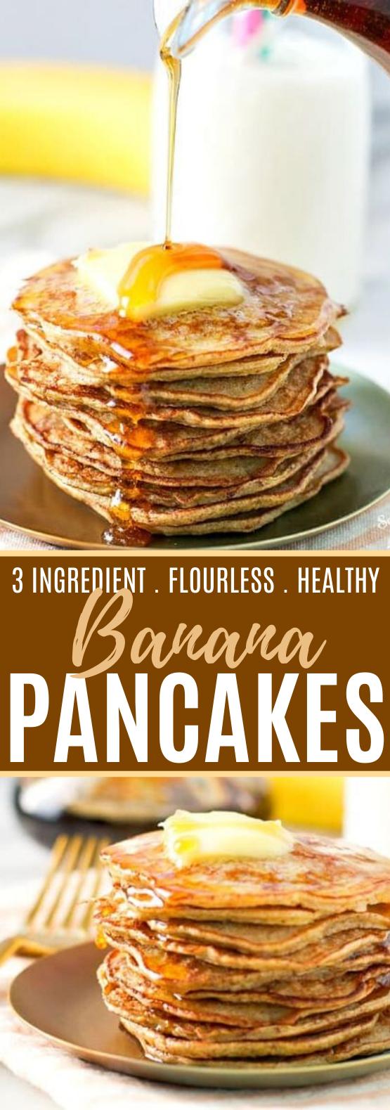 3-Ingredient Healthy Banana Pancakes #healthy #breakfast #glutenfree #easy #paleo