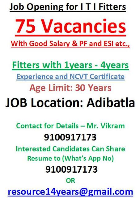 ITI Fitter Jobs Vacancy in Adibatla, Hyderabad