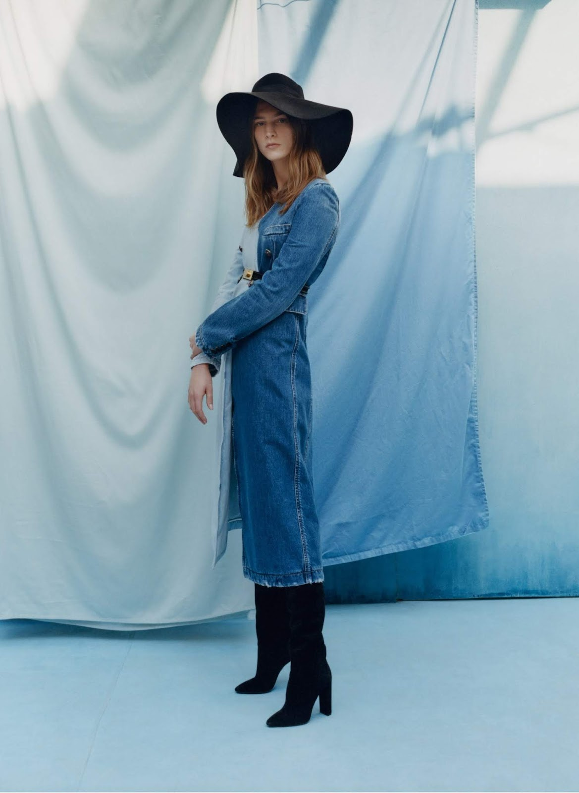 Ros Georgiou - Givenchy trench coat. Gucci hat. Saint Laurent by Anthony Vaccarello boots