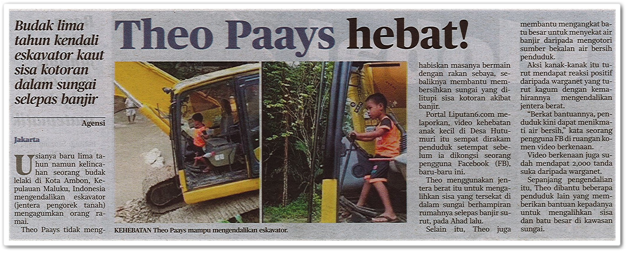 Theo Paays hebat! - Keratan akhbar Harian Metro 8 Oktober 2020
