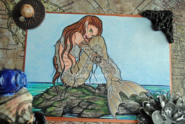 Sweet Pea Stamps Tera Presents 'steampunk Mermaid'
