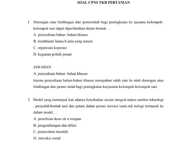 Materi Soal SKB Pertanian CPNS 2020 (Seleksi Kompetensi Bidang)