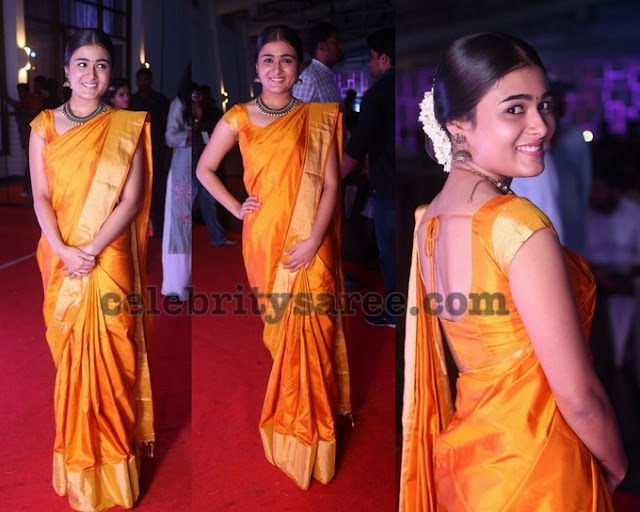 Shalini Pandey Yellow Silk Saree