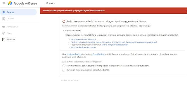 Cara Mengatasi Low Value Content Google Adsense