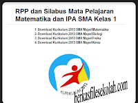 Download RPP dan Silabus Mata Pelajaran Matematika dan IPA SMA Kelas 1 Kurikulum 2013