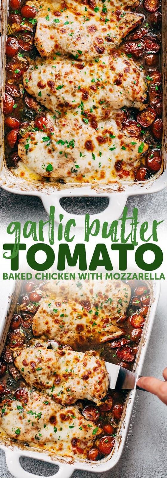 Garlic #Butter #Tomato #Baked #Chicken #with #Mozzarella