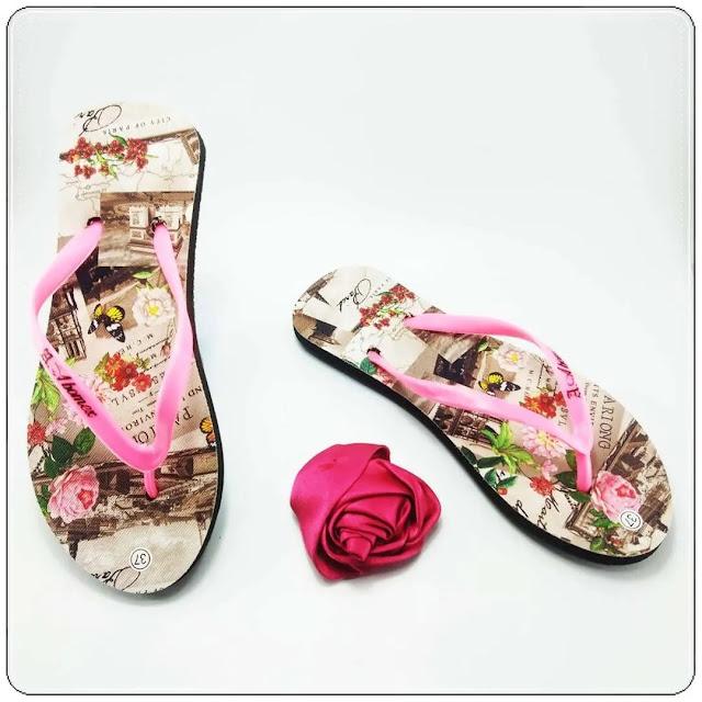 Pabrik Sandal Wanita Termurah di Surabaya - Sandal Motif Bunga Simplek