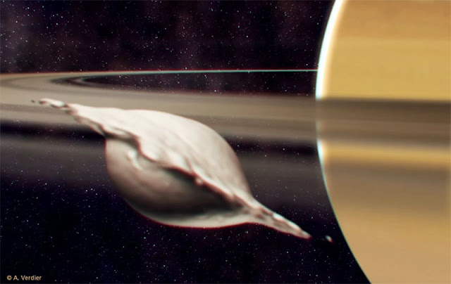 Ilustração artística da colisão que teria gerado a lua de Saturno Atlas