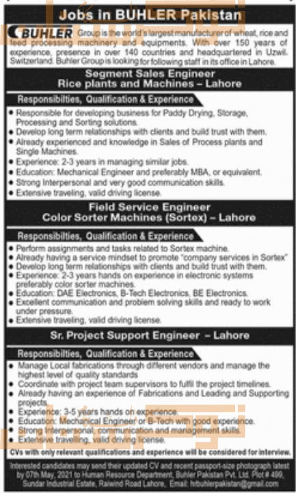 private,buhler group lahore,segment sales engineer, field service engineer, project support engineer,latest jobs,last date,requirements,application form,how to apply, jobs 2021,