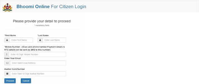 Bhoomi Online Citizen Login - Karnataka Land Records Online
