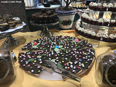 Chocolate pizza at the buffet