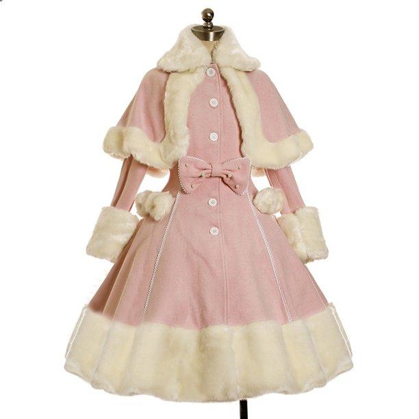 Women's Long Sleeve Fur Coat Dress Vintage Gothic Lolita Bowknot Dress
