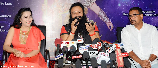 MSG The Warrior Lionheart Star Cast Team Answering Media Questions Saint Dr. Gurmeet Ram Rahim Singh Ji Insan and Honeypreet Insan with Santosh Thundiyil