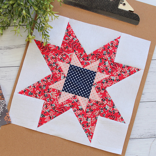 Double Delight Sawtooth Star Block designed By Rose Johnston of Threadbare Creations