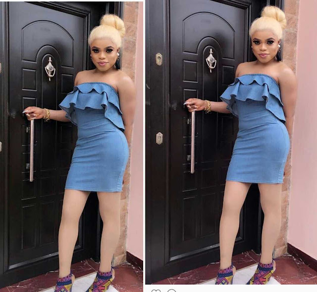 Bobrisky Rocks Off Shoulder Mini Gown