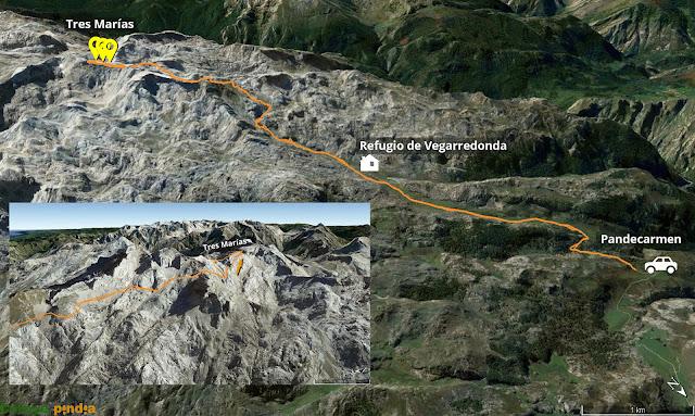 Mapa de la ruta señalizada a las Tres Marías en Picos de Europa.