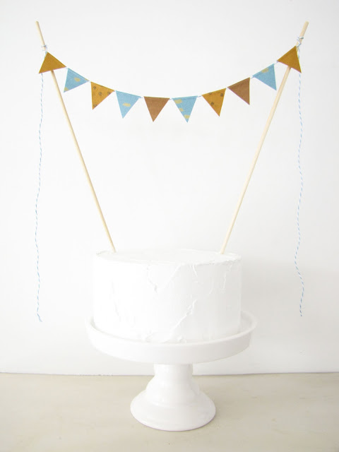 Bronze & Blue Cake Topper - Fabric Cake Bunting - Birthday Party, Shower Decoration - gold dots metallic cadet blue modern wedding athenaandeugenia