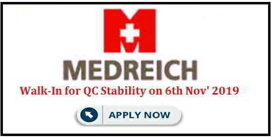 Walk-in interview for Quality Control on 6th November, 2019 @ Medreich