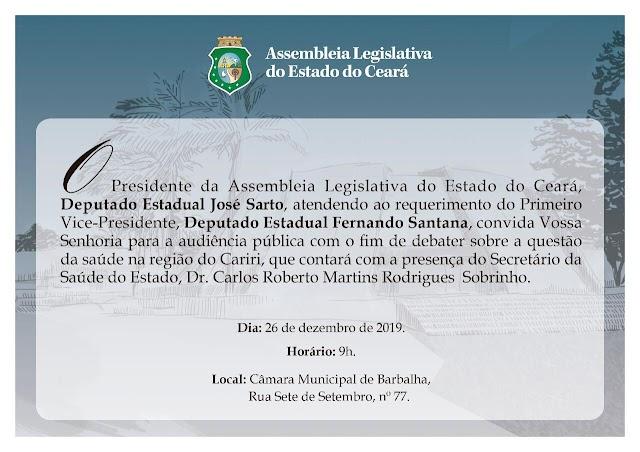Iniciativa do deputado Fernando Santana - Audiência pública vai debater a saúde na Região do Cariri nesta quinta (26)