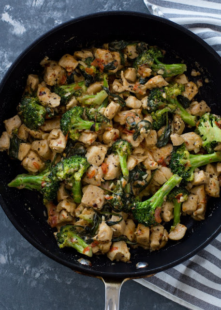 15 Minute Keto Garlic Chicken with Broccoli and Spinach Recipe