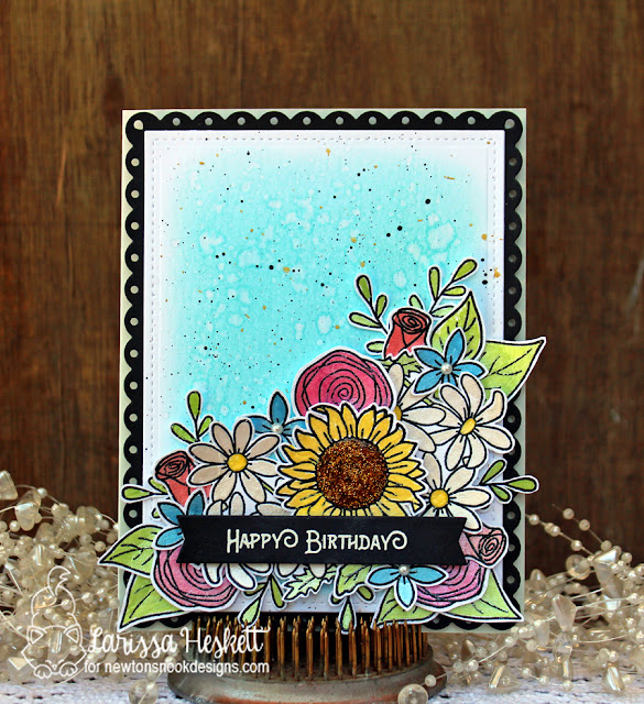 Floral Birthday Card by Larissa Heskett features Lovely Blooms by Newton's Nook Designs, #newtonsnook