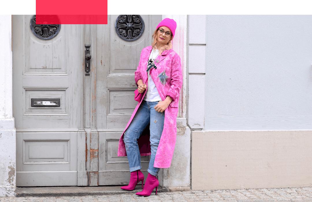 Pink-kombinieren-Sommermantel