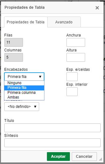 Propiedades de una tabla. Hay un desplegable 'Encabezados' con varias opciones, como Primera fila o Primera columna