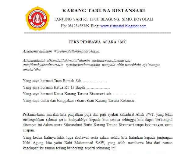 Download Teks Pembawa Acara Karang Taruna