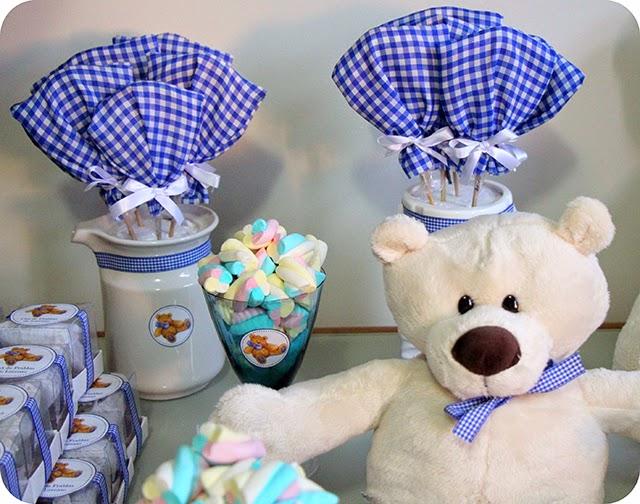Decoração do Chá de Fraldas Azul com Ursos