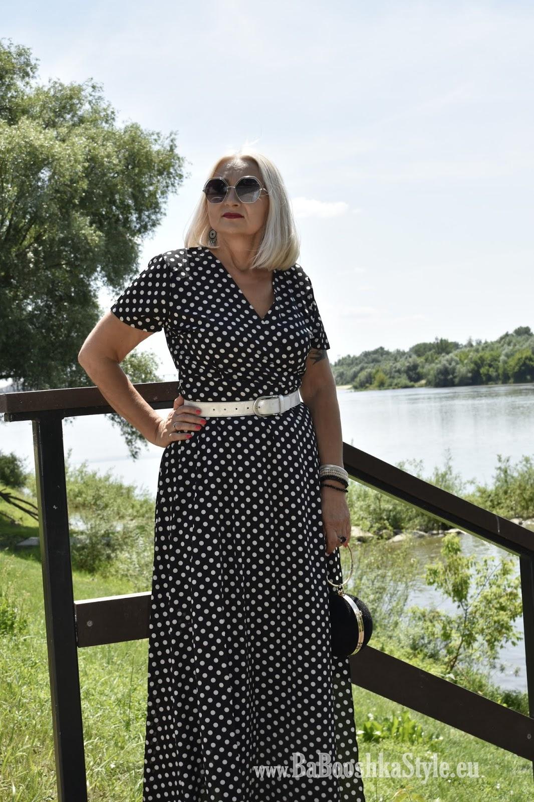 BabooshkaStyle, dress, Dresslily, dressmaxi, grochy, kodmody-stylistka, moda50plus, polecam, Polka dots, River Island, Rosegal, stylistka,