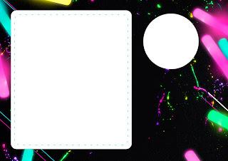 Para hacer invitaciones, tarjetas, marcos de fotos o etiquetas, para imprimir gratis de Fiesta Neón.