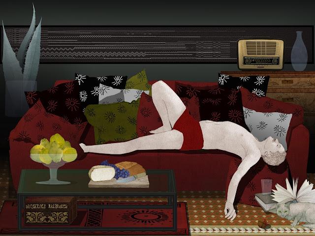 hombre , haciendo , la siesta