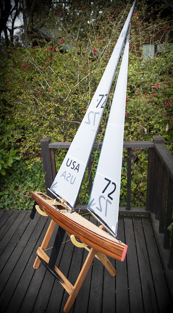 Vickers V8 IOM wooden RC sailboat